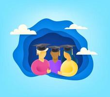 Group of young students with graduation cap. Cutout style vector illustration