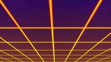 estilo retro 1980 grade paisagem superfície cibernética movendo-se sobre a cabeça como pano de fundo