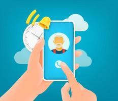 llamada entrante de Internet a través de un teléfono inteligente. linda ilustración de estilo 3d