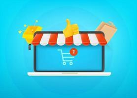 concepto de compras por internet. linda ilustración de vector de estilo 3d