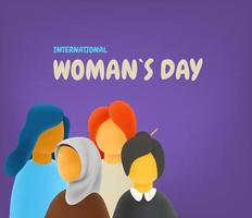 International womans day concept. Different race and culture women. 3d style cute vector illustration