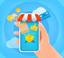venta en tienda online. linda ilustración de estilo 3d