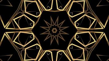 Abstract Golden Line Kaleidoscope Pattern on A Black Background