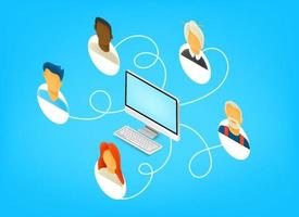 Team working together remotely via internet. Isometric 3d style vector illustration