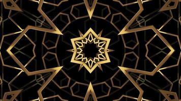 abstrakt gyllene texturerat kalejdoskop över svart video