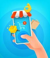 Internet shopping concept. Man holding smartphone and tapping on the screen vector