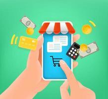 compras en línea a través de un teléfono inteligente moderno. linda ilustración de estilo 3d vector
