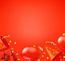 Feliz cumpleaños banner de vector rojo con espacio de copia