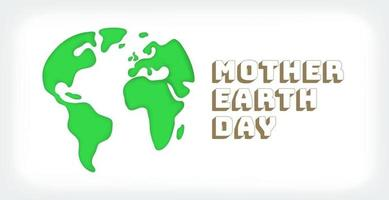 Mother Earth day. The Earth silhouette in cutout vector style
