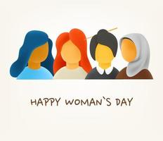 Happy womans day concept. Different race and culture women. 3d style cute vector illustration