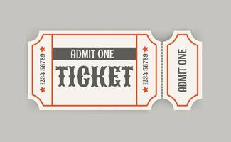 Retro style paper cinema ticket with shadow vector