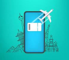 Booking e-ticket on smartphone concept. Modern smartphone with ticket on the screen and world sights on background vector