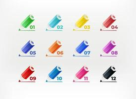 Color crayons with digits. Infographic vector bullets. Template for design