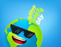 Happy Earth day concept. 3d style funny Earth with sunglasses vector