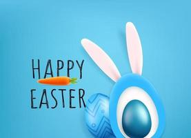 Happy Easter vector greeting card. Cute cutout style vector illustration