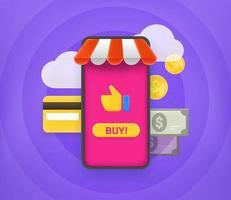 comprar productos en la tienda online. linda ilustración de estilo 3d vector