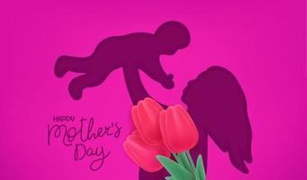 Happy Mothers day vector banner. Cut out effect with woman silhouette