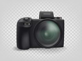 Black modern mirrorless digital camera isolated on transparent background. Front view vector