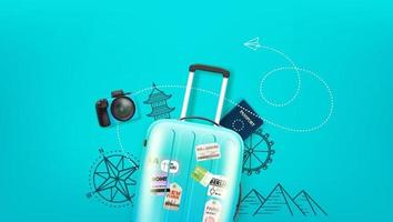 Travel illustration with travel stuff and copy space vector