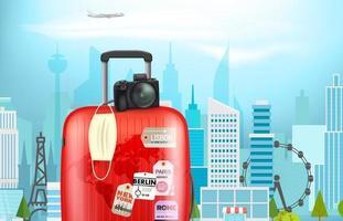 vacaciones en pandemia. concepto con maleta de plástico de color y máscara de protección en una ciudad. banner de vector