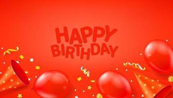 Feliz cumpleaños banner vector rojo con globos, confeti y sombreros