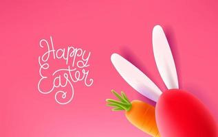 Happy Easter Holiday card. Easter banner with realistic elements. 3d style cute vector illustration