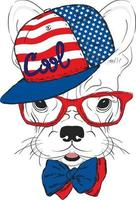 A beautiful dog in a cap and glasses. Hipster. vector