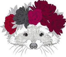 Beautiful hipster raccoon in a wreath of flowers. vector