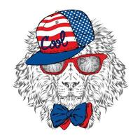 Beautiful lion in a cap and glasses. Hipster. vector