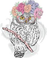 Beautiful owl hipster in a wreath of flowers. vector