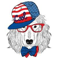 Handsome hipster dog in a cap and glasses. vector