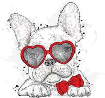 Beautiful dog in glasses with hearts. vector