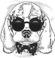 Beautiful dog with glasses and a tie. vector