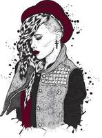Beautiful hipster girl in stylish hat and clothes vector