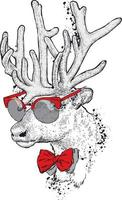 Handsome hipster deer with glasses and tie. vector