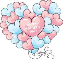 Balloon hearts. Happy Mother's Day card. vector