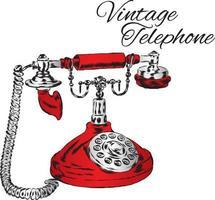 Vintage telephone. Hipster illustration. vector