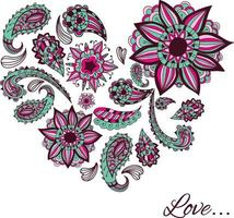 A heart made from a variety of patterns. Doodles and zentangles. Vector. vector