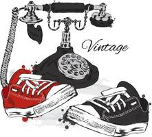 Vintage phone and sneakers. Hipster illustration. vector