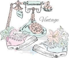 Vintage phone, flowers and sneakers. Hipster illustration. vector