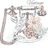 teléfono vintage y flores de lirio. ilustración inconformista. vector