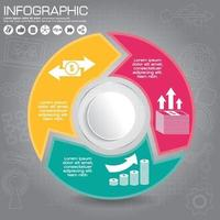 Connected round infographic diagram. Circular chart with 3 options. Paper progress steps for tutorial with two parts. Isolated business concept sequence banner. EPS10 workflow layout. vector