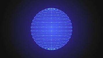 caixa de esfera 3d azul com traços brilhantes girando em loop de escuridão