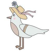 el pájaro es una chica gaviota. ave marina, personaje de playa en un sombrero con una flor.