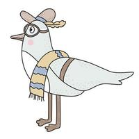 The bird is a seagull. The cute character is a beach male bird wearing a hat, glasses and a beach towel. vector