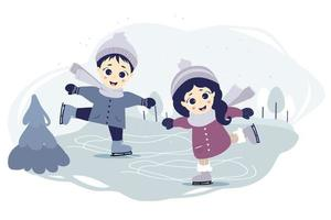 Kids winter. Cute a boy and a girl ice skating on a skating rink in a decorative forest background with a winter landscape.