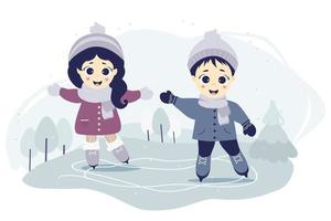 Kids winter. Boy and girl ice skating on a skating rink on a blue background of a forest landscape with trees and Christmas trees. vector