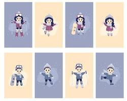 Children's cards, Kids winter. A set of cards with cute girls and boys go in for winter sports. Skiing, skates, snowboarding, in winter clothes, in different poses. vector