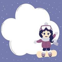 postal de deportes de invierno. una linda chica atleta en ropa de invierno está montando una tabla de snowboard. fondo azul con nieve y nube de lugar para escribir su texto. vector