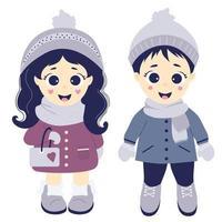invierno de los niños. niño y niña en ropa de invierno, gorro, bufanda, abrigo, guantes y botas. vector